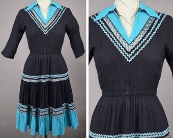 Black & Turquoise Vintage 50s Mexican Patio Dress Squaw Fiesta Dress Full Skirt M