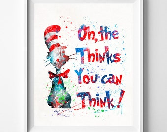 Dr. Seuss, Dr. Seuss Print, Doctor Seuss, Dr. Seuss Art, Dr. Seuss Poster, Seuss Watercolor, Nursery Posters, Type 2, Valentines Day Gift