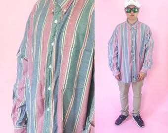 Vintage shirt size 2XL oversized striped shirt all over print 1990s 1980s red blue