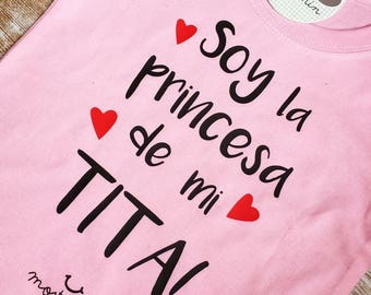 T-shirt I am the prince or princess of my uncles, with his gift box.  : )