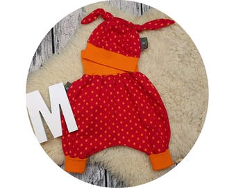 Node cap, baby Kit, newborn gift, harem trousers, harem trousers, pants, baby pants, baby, Mitwachsen pants, Cap, Star, Star, stars, red, orange