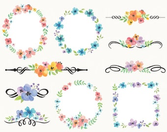 Watercolor Flower Frame Clipart Clip Art Wedding Frame Clipart Wedding Flower Clipart Instant Download Personal and Commercial Use