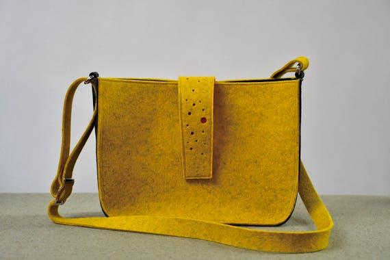 Little Mustard Seed Crossbody Bag (made to order), Felt Bag, Shoulder Bag, Wool Handbag, Felt Crossbody, Mustard BagModern Bag