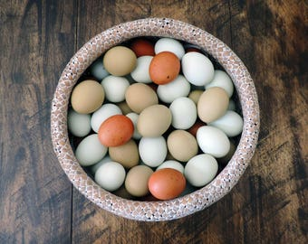 Hand Blow Free Range Chicken Eggs | Dark Mix - Blue, Olive, Chocolate Brown | Primitive, Natural Rustic Farmhouse, Cottage Chic Décor