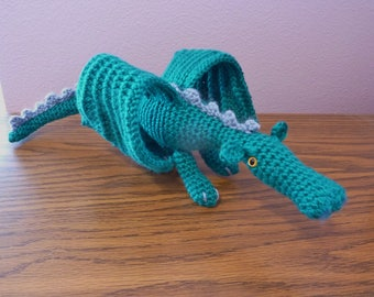 "Gregos the ""Cool Green"" Dragon crochet toy 19"" long"