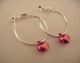 Hoop earrings with pink bells