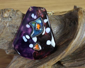 Vintage Enamel On Copper Mod Pendant-Eggplant with Pops of Orange, White and Teal