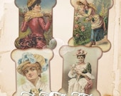 80% off Mothers Day Sale Vintage Ladies Digital Lace Holders Tags Labels Images for Scrapbooking Decoupage Paper Cardmaking Jewelry Making A