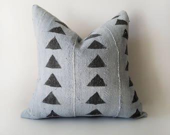 Authentic Mudcloth Pillow Cover, Mali Bogolan, Blue Gray, Blue Grey, Black, Triangles