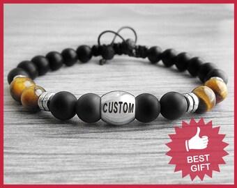 Mens Personalized Gift for him gift for Boyfriend gift Custom Bracelet Men bracelet Monogram bracelet Engraved bracelet Custom name bracelet