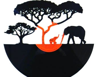 Elephants on Horizon - Vinyl Record Art