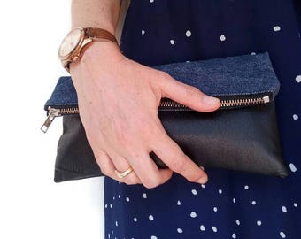 Fold over clutch / large leather pouch / large pouch / large clutch / recycled leather & denim, soft genuine black leather / eco chic