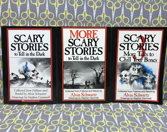 Scary Stories to Tell in the Dark by Alvin Schwartz short paperback book set horror trilogy Stephen Gammell Art