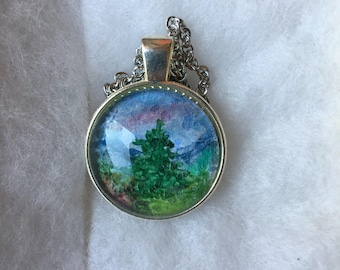 Charm necklaces, Glass dome jewelry, Glass dome pendant, Mountain landscape, Glass, Silver chain, Charm pendant,Watercolor painted jewelry