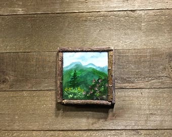 Mountain landscape, Small art decor, Smoky Mountains,  Blue Ridge Mountains, Appalachian Mountains, Oil painting, Smoky Mountain Landscape,