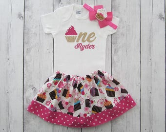 Cupcake First Birthday Outfit in yummy colorful print - girl birthday outfit, pink, cupcake headband, hot pink cupckake, birthday outfit