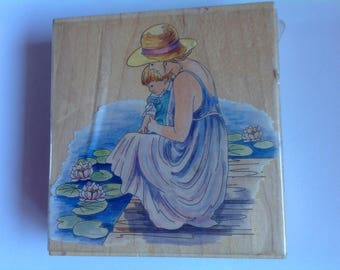 Large Lady & Child Rubber Stamp