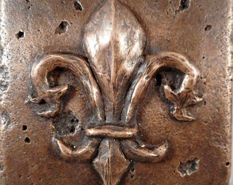 "Bronze 4""x4"" Fleur d' Lis wall Tile by Metal Tile Arts Mfg."