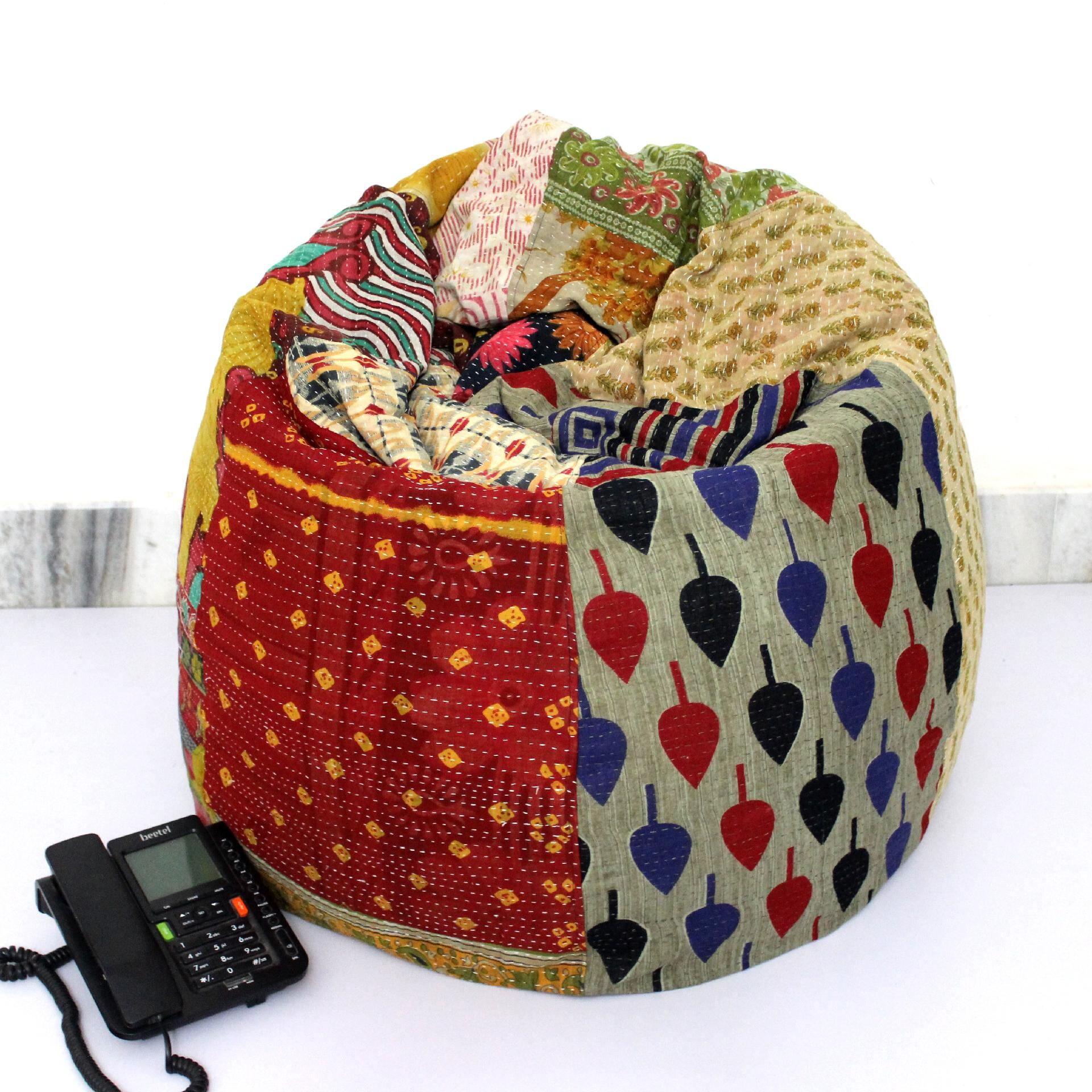 Handmade Quilted Cotton Floral Bohemian Bean Bag Chair Home