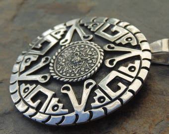 Vintage Mexican Round Sterling Silver Tribal Pendant / Pin with Oxidized Background