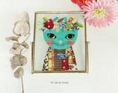 """Peinture encadrée """"Tropical Frida"""" inspiration Frida Kahlo, 16,5x21cm"""