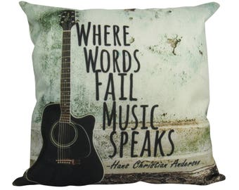 Where Words Fail Music Speaks Guitar Music - Pillow Cover