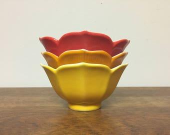 Three Red, Orange & Yellow Medium Lotus Bowls