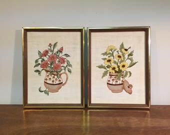 """30% SALE *** Two Pink & Yellow Flowers in Vase 13"""" x 10"""" Embroidery in Wood Frames with Brass Trim"""