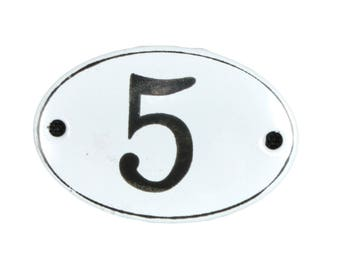 "Plate ""No. 5"" in white and black enamel"