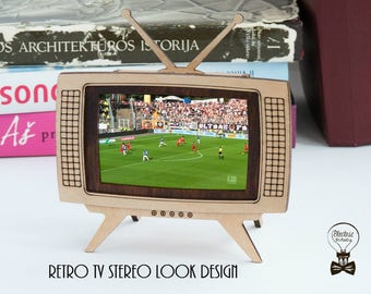 Handmade retro TV - smart phone accessory: smartphone holder, smartphone frame, smartphone dock stand. STEREO LOOK stand design.