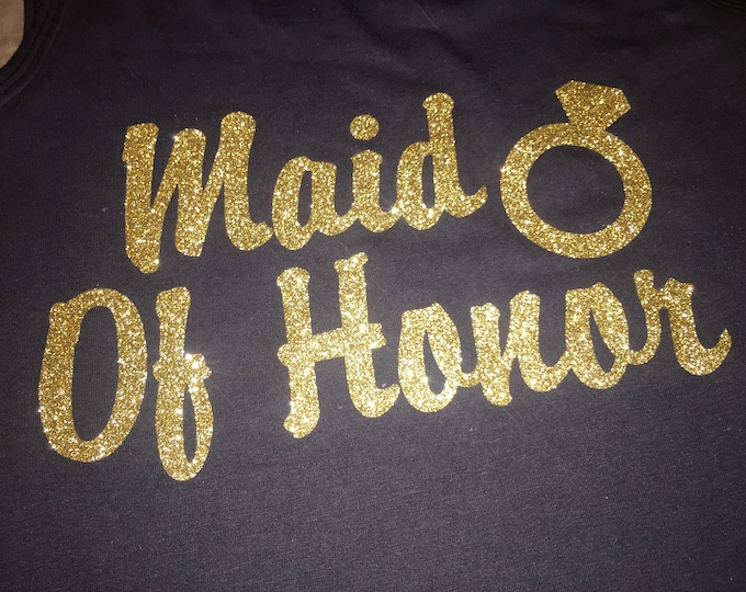 Eco Maid Of Honor Tank Top. Gold MOH shirt. Maid Of Honor shirts. Bridesmaid Gifts. Gold Weddings . Matron,  Mother of The Bride
