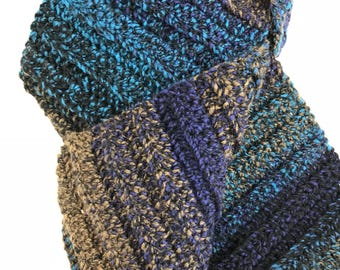 Blue and Brown Multicolored Scarf