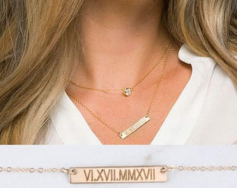 Personalized double layered Tiny dot Bar necklace,Bar Monogram Necklace,tiny dot bar necklace,Sideways cross, Initial Rectangle necklace