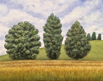 """Tree Trio, oil on canvas, 18"""" x 24"""", original painting, stretched canvas, finished edges, David DeWitt, trees, landscape, upcycled canvas"""