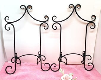 """WROUGH IRON DISPLAYS are a Pair of Vintage 10 1/2"""" CurlyCue Scroll-Design Black Solid Wrought Iron Wall Plate Display Holders"""