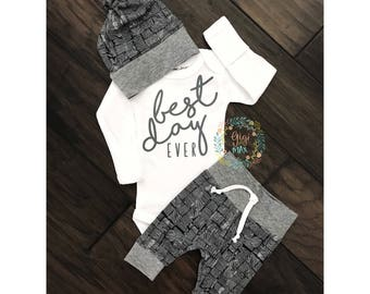 Baby boy coming home outfit -distressed navy and gray theme - going home set best day ever, baby shower gift, coming home outfit new baby