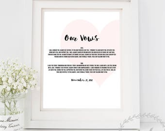 Wedding Vows Print / Bride and Groom Wedding Vows Prints 1st Anniversary Gift 10th 15th 5th Paper Wife Husband Printable Vows Personalised