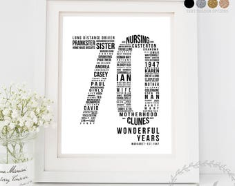 70th Birthday Gift, For Parents Him Her Dad Mum, Unique Gift Personalised, 70th Birthday Decor, Custom Word Art, Life Stats Keepsake Print