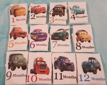 Month By Month Cars themed monthly onesies, cars, monthly onesies, Cars Themed