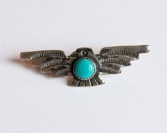 Vintage Sterling Silver Thunderbird Pin Friendship Crossed Arrows Fred Harvey Era Native American Eagle Peyote