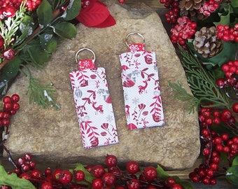Scandinavian Yule Lip Balm Holder - Cloth Chapstick Holder - USB Holder - Reindeer Snowflake Christmas Handbag Accessory Keychain