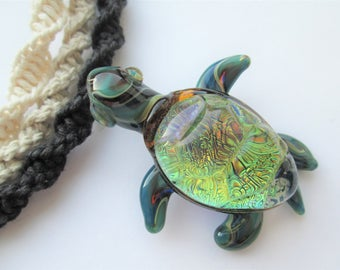 Turtle - Beautiful Green Dichroic Glass Turtle Pendant on Handmade Hemp Necklace - Choice of Hemp Color - OOAK Turtle Pendant -Beach Jewelry