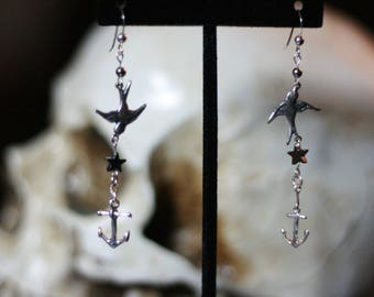 Sterling silver Swallows, anchors and hematite stars