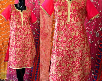 Indian Dress Metallic Embroidered Floral Tunic Dress Vintage India Tunic Dress