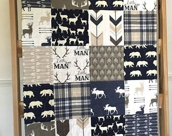 Deer baby quilt, deer, buck, arrows, navy-brown-tan-white