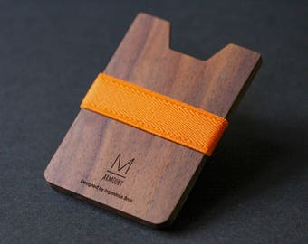 Orange X Walnut • Armoury M wallet minimalist wallet womens wallet slim wallet mens wallet thin wallet card wallet