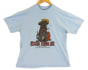 VTG 80s Booger Hollow Arkansas Tourist T-Shirt - Medium - 50/50 - Thin Shirt - Blue - Coon Dog - Bloodhound - Vintage Tee Vintage Clothing -