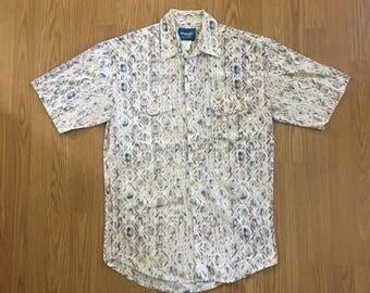 VTG Wrangler Western Shirt - Medium - Allover Print - Short Sleeved - Cowboy Shirt - Rockabilly - Vintage Clothing - Long Tails -