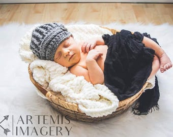 Crochet Newborn Newsboy Hat