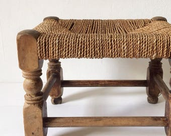 Vintage stool, small wooden foot stool with seagrass or hessian woven top, rustic low stool or plant stand